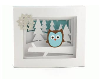 Christmas Owl Shadow Box Card , 3D , Snowflakes , Holidays , Winter , PaperCut , Free Shipping , Trees