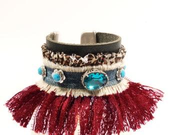 Leather bracelet jeans and fringe, leather cuff bracelet turquoise red with Swarovski, bohemian bracelet Ibiza style, fringed cuff handmade