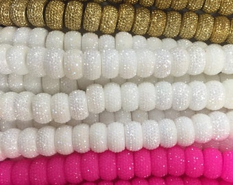 13x7mm acrylic rondelle shiny, glittery beads with 5mm hole, spacer, 26beads
