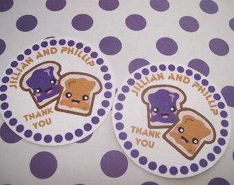Peanut Butter and Jelly tags set of 12