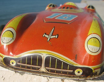 Antique 1950's Race Car Land Speed Record Racer Rocket Car Tin Litho Toy classic Jet Speedster Cold War retro racing relic unique toys