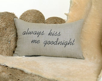 Always Kiss Me Goodnight Pillow Cover for Anniversary, Wedding, Engagement, Birthday and Love Gift forCouples-Personalized Pillow