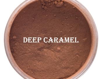 DEEP CARAMEL FOUNDATION Organic Minerals Medium Dark Skin tone for women of color Vegan Gluten Free, green tea, jojoba oil, vitamin E