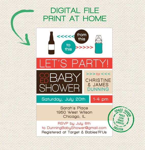 Exceptional Items Similar To PRINTABLE   Co Ed Baby Shower Beer Bottle To Baby Bottle  Invitation   DIGITAL FILE On Etsy
