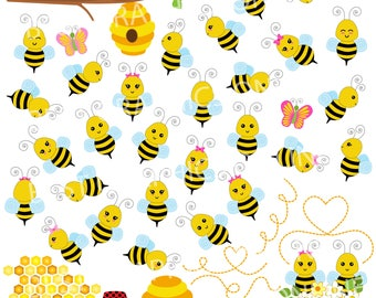 80% OFF SALE Bumble bees illustration, Honey bee clipart, Commercial use bee clip art, Bumble bee vector image, bee hive, Bugs clipart GR2