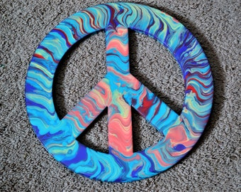 "11"" colorful peace sign artwork"