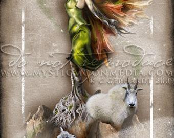 Art Retirement SALE/ Capricorn / ZODAIC / Fairy Fantasy Art / Fairy Art / Fairy Print