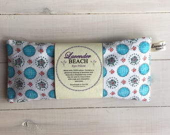 Yoga Eye Pillow with Washable slip-cover, Lavender Eye Pillow for relaxation with removable turquoise cover, Vintage fabric eye pillow