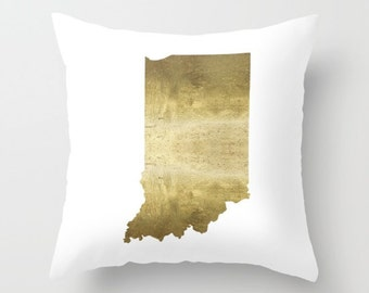 Indiana Pillow Indiana Map Pillow Indiana Home Decor Gold Foil State Map Midwest Home Decor Indiana Gifts Indianapolis Map Indiana Print