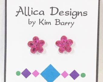 Earrings ~ Pink Flower Gem Earrings~  Free Shipping in the US