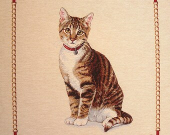 NECKLACE red TABBY cat tapestry panel fabric coupon