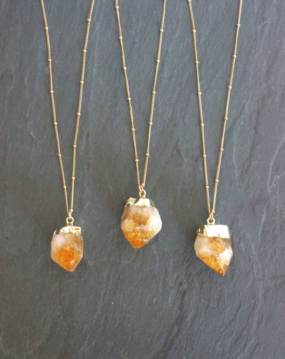 Gold citrine necklace satellite chain raw citrine necklace zoom aloadofball Choice Image