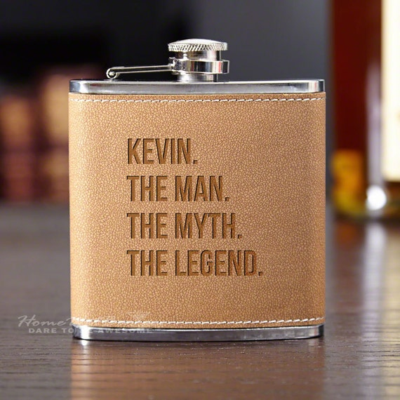 The Man The Myth The Legend Personalized Flask - Custom Engraved Gift Includes Name