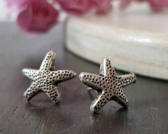 Silver Star Earrings. Bestfriend Gift. Summer earrings. Beach earrings. Gift to MOM. Beach wedding.