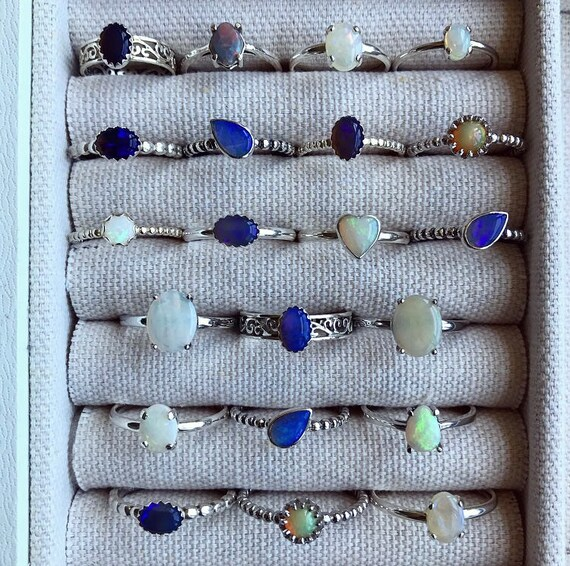 SALE: Sterling silver rings with Australian and Ethiopian opals