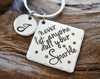 Personalized Keychain - Never Let Anyone Dull Your Sparkle - Gifts for Her - Graduation Gift - Personalized Keychains by Pink Lemon Design