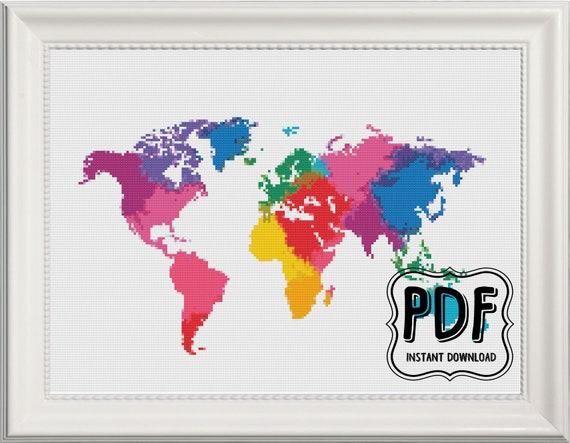 Watercolour world map cross stitch pattern instant download pdf de watercolour world map cross stitch pattern instant download pdf de linzysstitches en etsy studio gumiabroncs Choice Image
