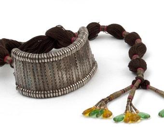 "Bracelet flexible ""Bazuband"" silver, cotton and beads - Rajasthan - India"
