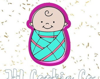 swaddled baby boy cookie cutter