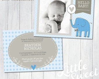 5x7 Birth Announcement Template (Baby Announcement) - Photoshop Template for photographers (BA3B) - INSTANT DOWNLOAD