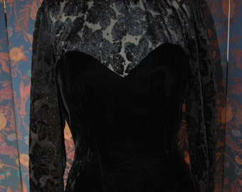 Evening dress down velvet black 1990