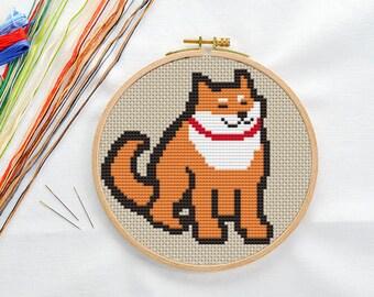 PATTERN: Shiba dog (2) cross stitch pattern, Modern Cross Stitch Pattern, Cute Cross Stitch Pattern, Instant Download PDF