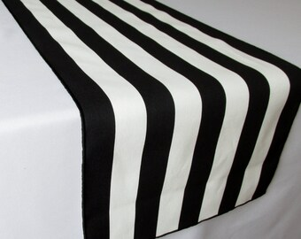 Black and White Striped Table Runner Wedding Table Runner - black edge - Select A Size - ON SALE