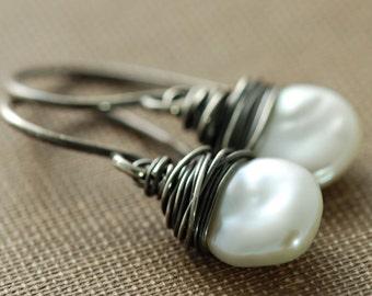 Keishi Pearl Earrings Wrapped in Sterling Silver Oxidized, Handmade Bohemian Jewelry