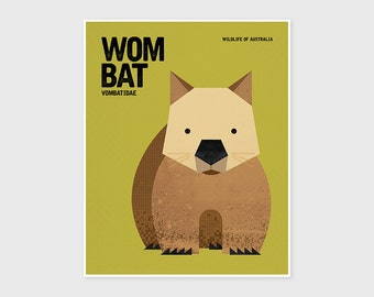 WOMBAT, Wildlife of Australia, Nursery Wall Art, Fun Animal Nursery Art, Educational Kids Poster Art, Wall Art Prints, Retro Animal Print