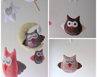 Felt Owls Baby Mobile, Wool Felt Baby Mobile for Baby Crib, Kids Playroom or Modern Nursery Decor