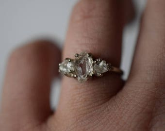 Size 7 14k Gold Diamond Ring, Raw Diamond Engagement Ring, Solid Gold Engagement Ring, Rough Diamond Ring, Raw Diamond Ring, Avello