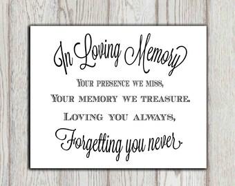 In loving memory of print Memorial table Wedding memorial sign Memorial quotes Your presence we miss ... Memory printable 5x7, 8x10 DOWNLOAD