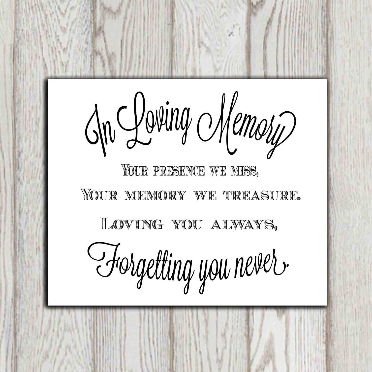 In Loving Memory Quotes In Loving Memory Of Print Memorial Table Wedding Memorial Sign