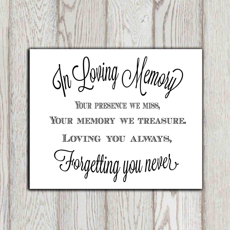 In loving memory of print Memorial table Wedding memorial sign