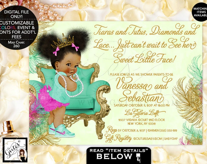 Pink Mint and Gold Baby Shower Printable Invitation, Magenta and Mint Green, Princess African American Baby Invites, 7x5. Afro Puffs. Gvites