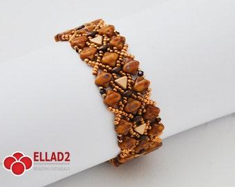 Tutorial Silky-Two Bracelet-Beading tutorial, Beading pattern, Instant download, Ellad2
