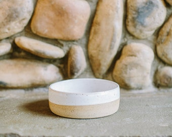 Stoneware Ceramic Dog Bowl // White and Clay // Pottery Dog Bowl