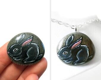 Black Bunny Rabbit Necklace, Pet Portrait, Hand Painted Pebble Jewelry, Stone Pendant, Animal Art, Pet Painting, Keepsake Gift for Her