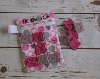 Tic Tac Toe Game includes Zippered Storage Bag - Quiet Play - Gift for Kids - Free Shipping