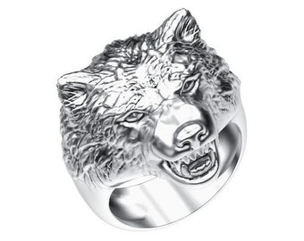 Wolf Ring | Wolf Head Ring | Silver Wolf Ring | Animal Ring