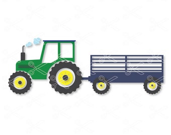Farm Tractor SVG DXF EPS Png Cutting Files - Tractor With Trailer Svg Dxf- Silhouette Cut Files - Cricut Cut Files - Farming Svg Dxf