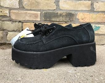 VOLATILE Black Suede Leather Platform Shoes