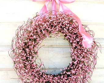 Easter Wreath-Easter Home Decor-Spring Wreath-Spring Wedding Wreath-Pink Berry Wreath-Wedding Decor-Its a Girl-Baby Shower Gift-Baby Nursery