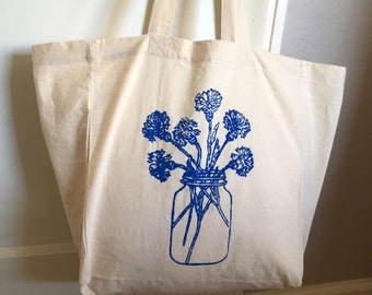 Market Tote Bag - Cornflowers in a Mason Jar - Cotton Tote - Reusable Grocery Bag - Book Bag - Beach Bag