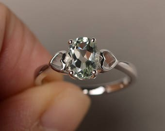 Natural Green Amethyst Ring Anniversary Ring Oval Cut Gemstone Ring Solitaire Ring Sterling Silver Ring