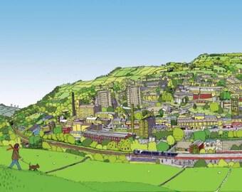 Yorkshire illustration, fine art print, Sowerby Bridge West Yorkshire Giclee Print - Original Print - #bs2andbeyond