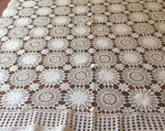 1950's White and Cream Crochet Tablecloth.