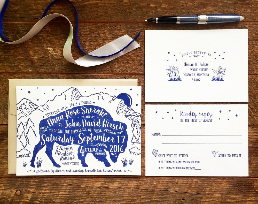 Bison Wedding Invitation Rustic Wedding Invitation