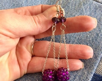 Vintage silver tone ultra violet dangle pierced earrings.