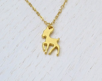 Gold bambi necklace, Fawn Necklace